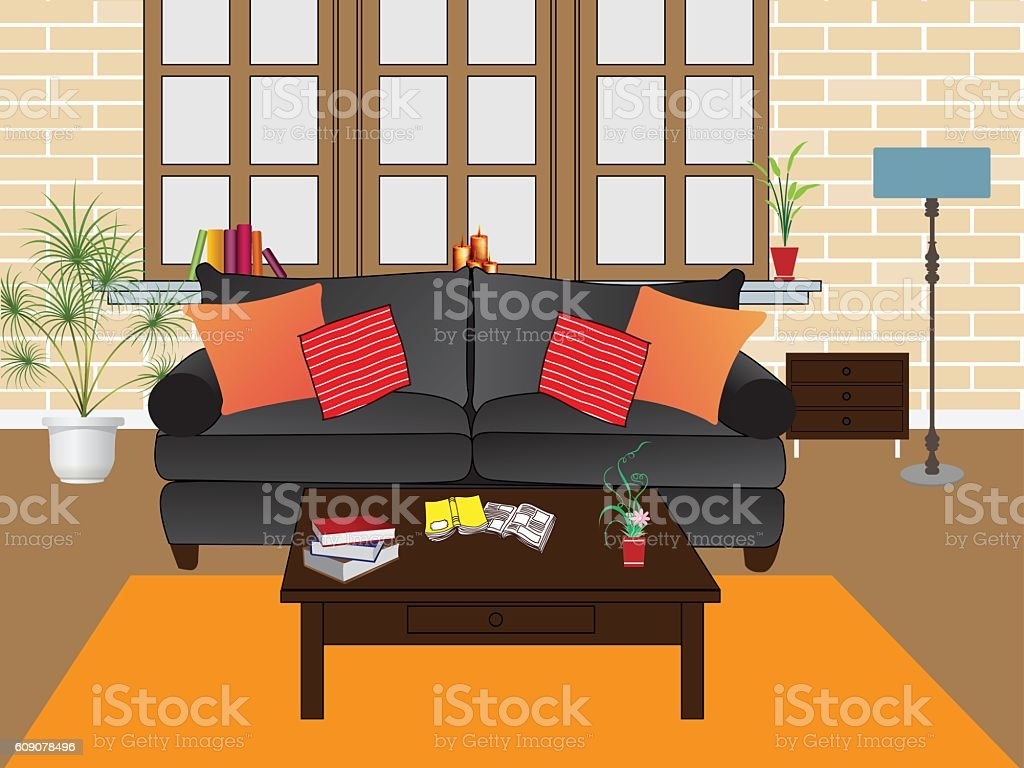 Cosy living room interior vector illustration vector art illustration
