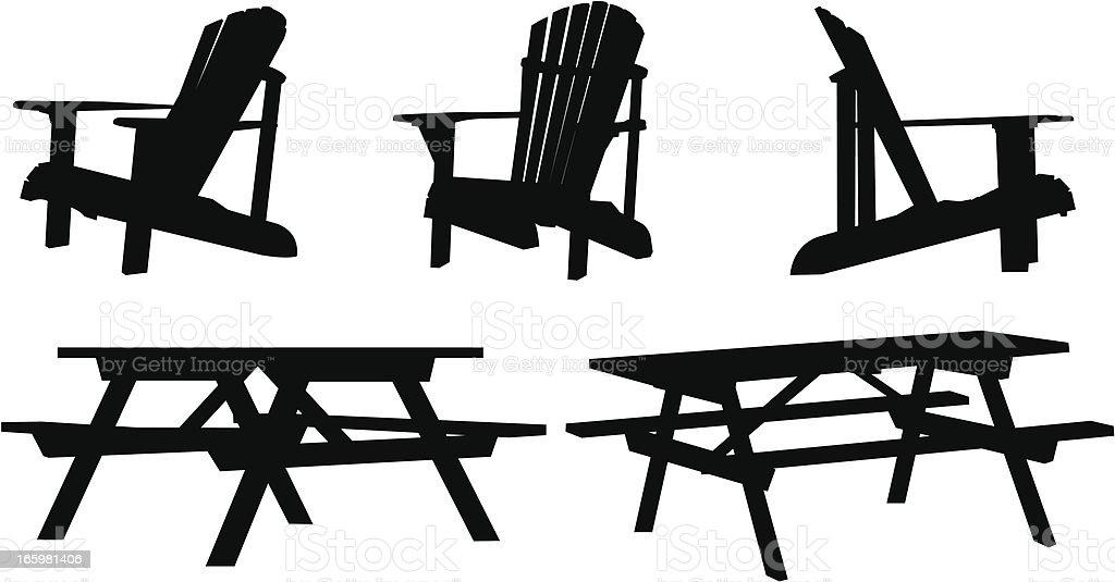 Cottage Furniture Silhouettes vector art illustration