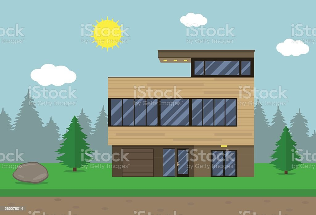 Cottage house building. Flat design style. Modern house. Vector royalty-free stock vector art
