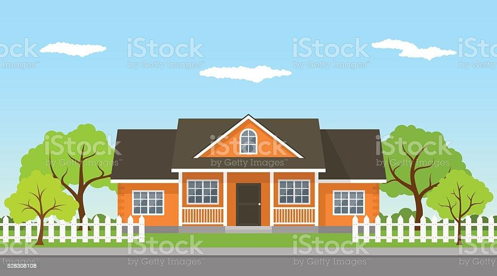 cottage house landscape vector art illustration