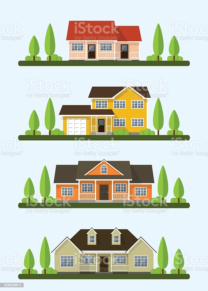 cottage houses set vector art illustration