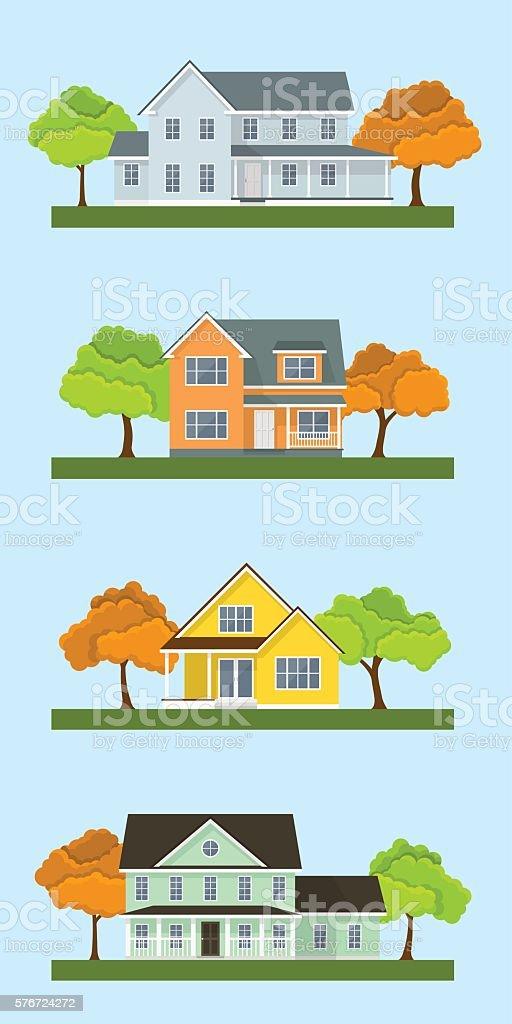 cottage houses set vector art illustration