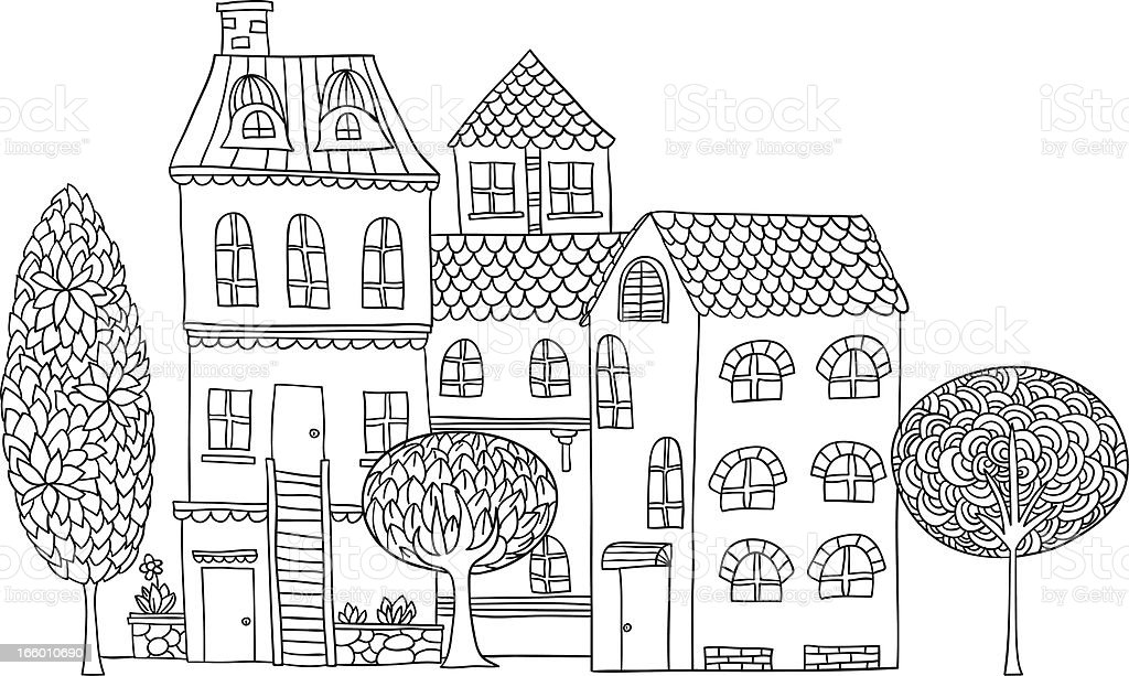 Cottage illustration in black and white vector art illustration