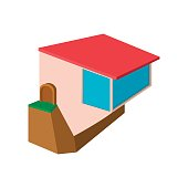 Cottage on the edge of a cliff cartoon icon