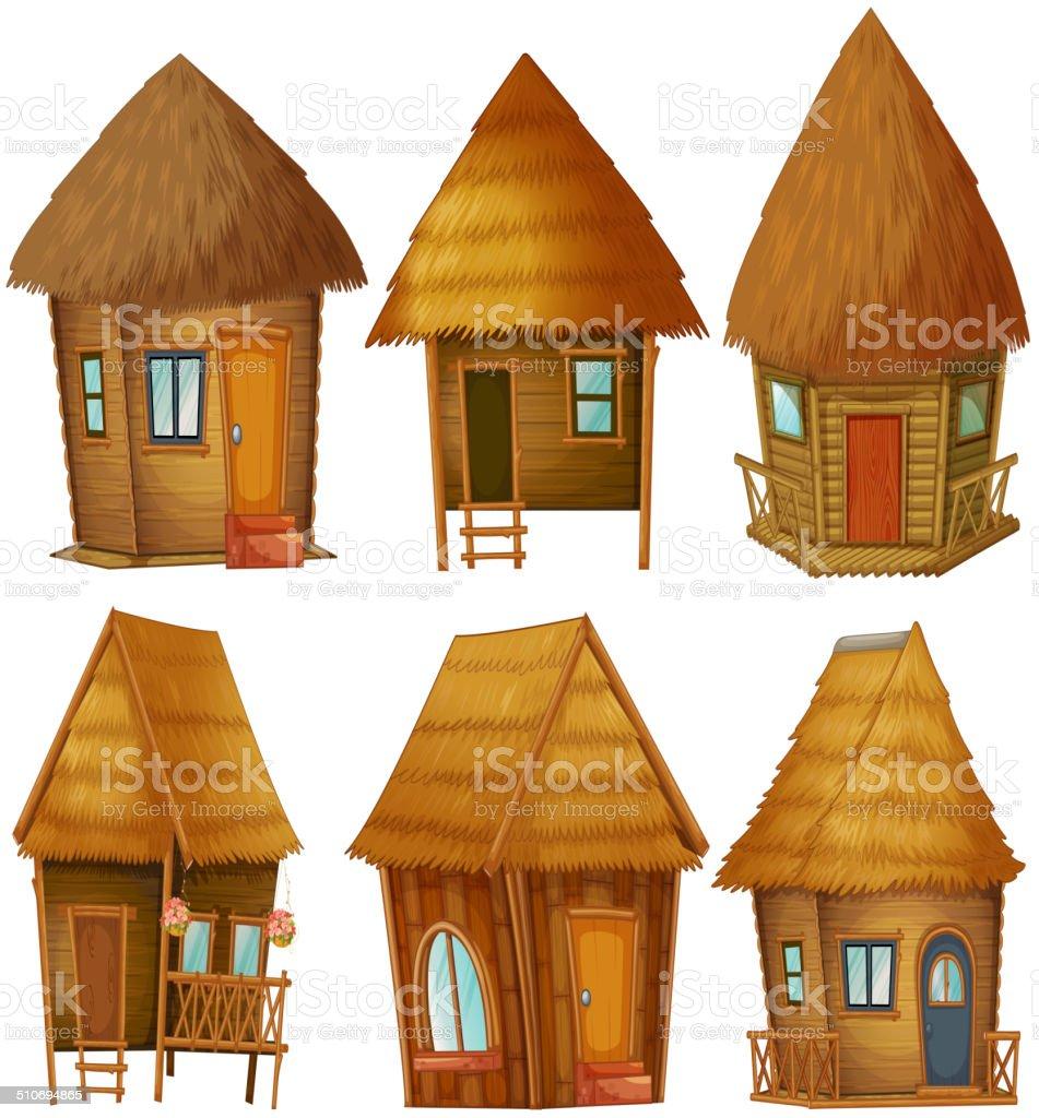 Cottage set vector art illustration