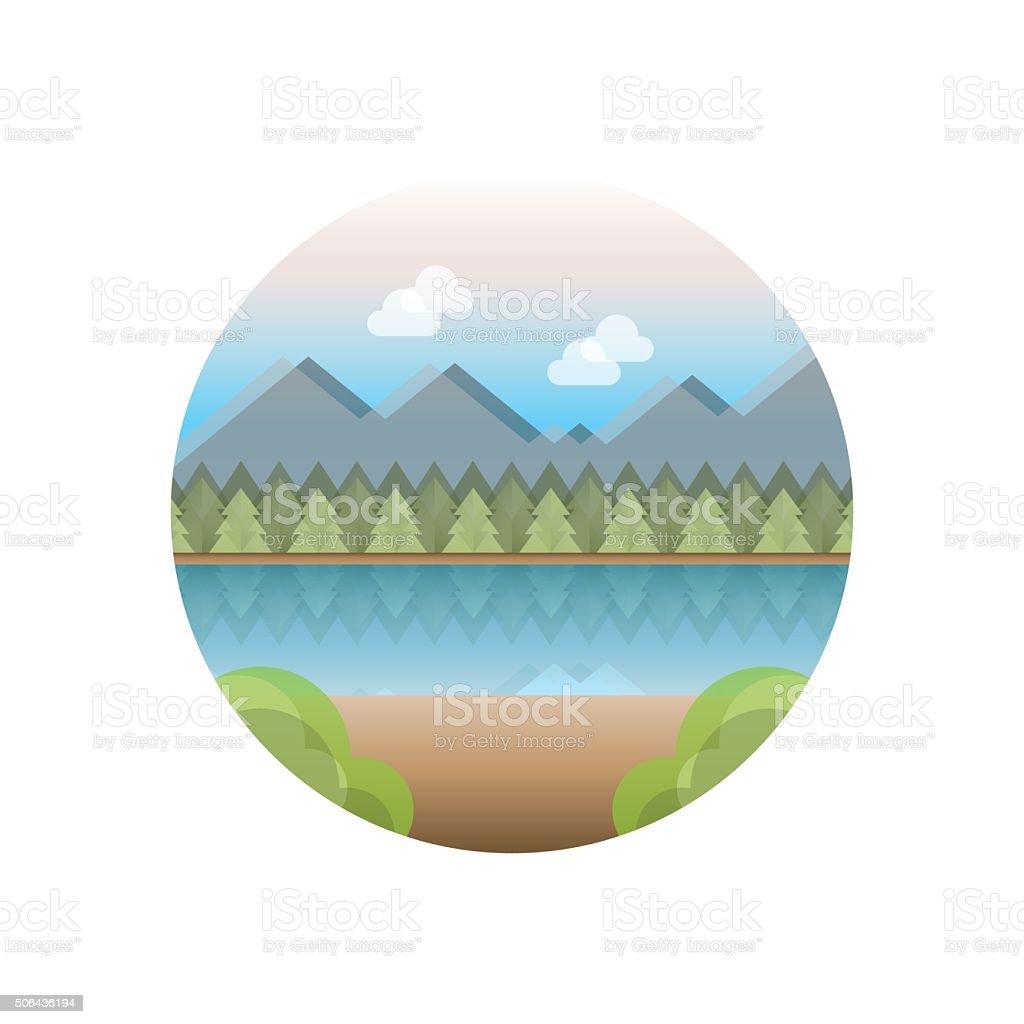 Cottage vacation vector art illustration