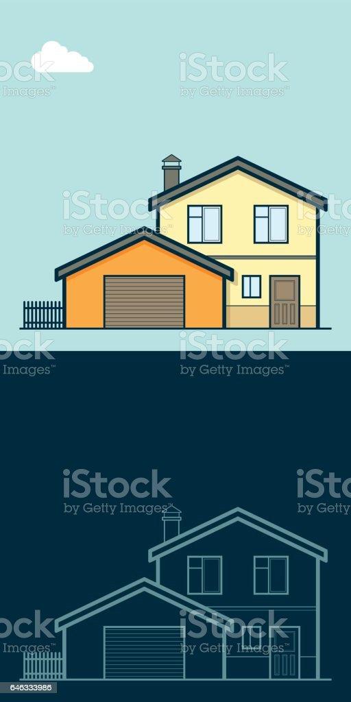 cottage, Коттедж, Загородный дом, Частный дом vector art illustration