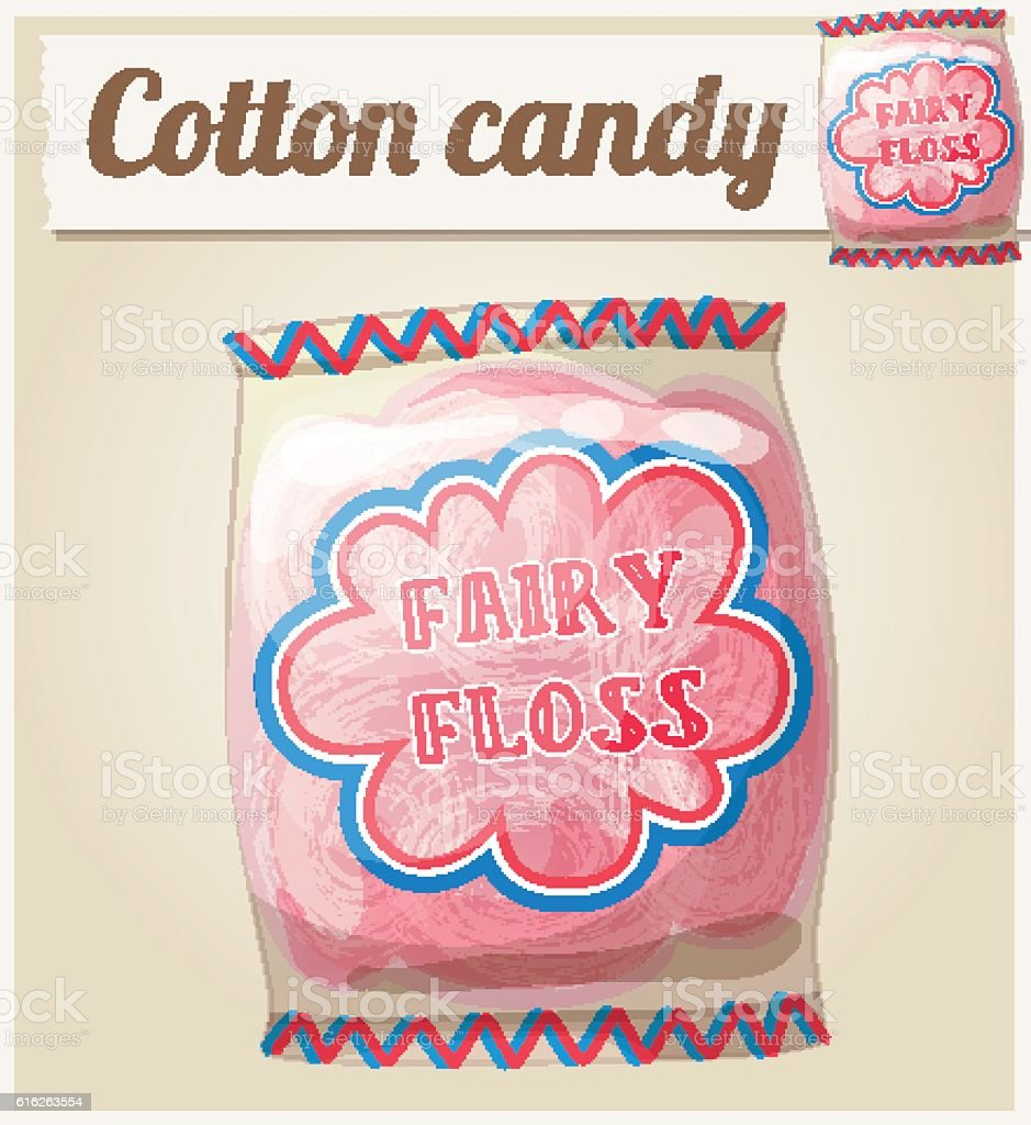Cotton candy (Fairy floss) in a bag. Cartoon vector icon vector art illustration