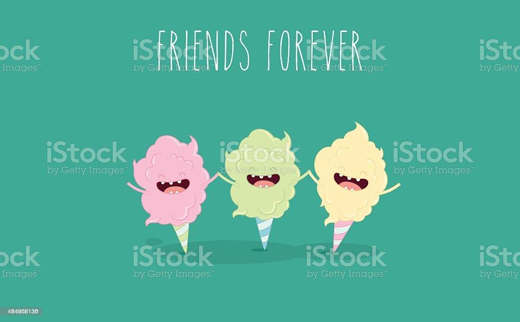 cotton candy vector art illustration