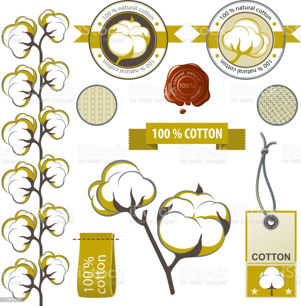 Cotton emblems vector art illustration