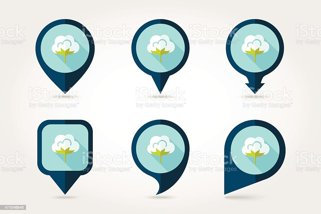 Cotton flat mapping pin icon with long shadow vector art illustration