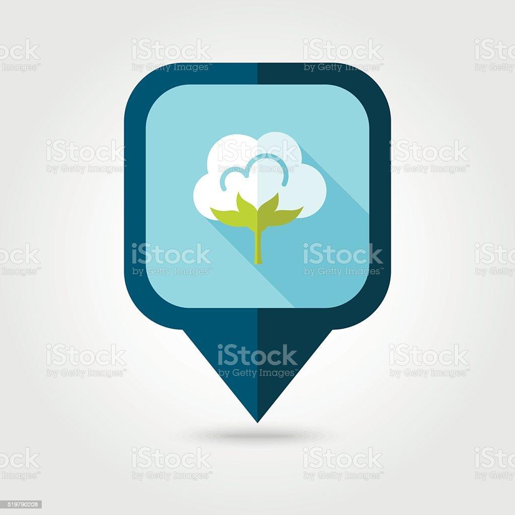 Cotton flat pin map icon. Map pointer vector art illustration