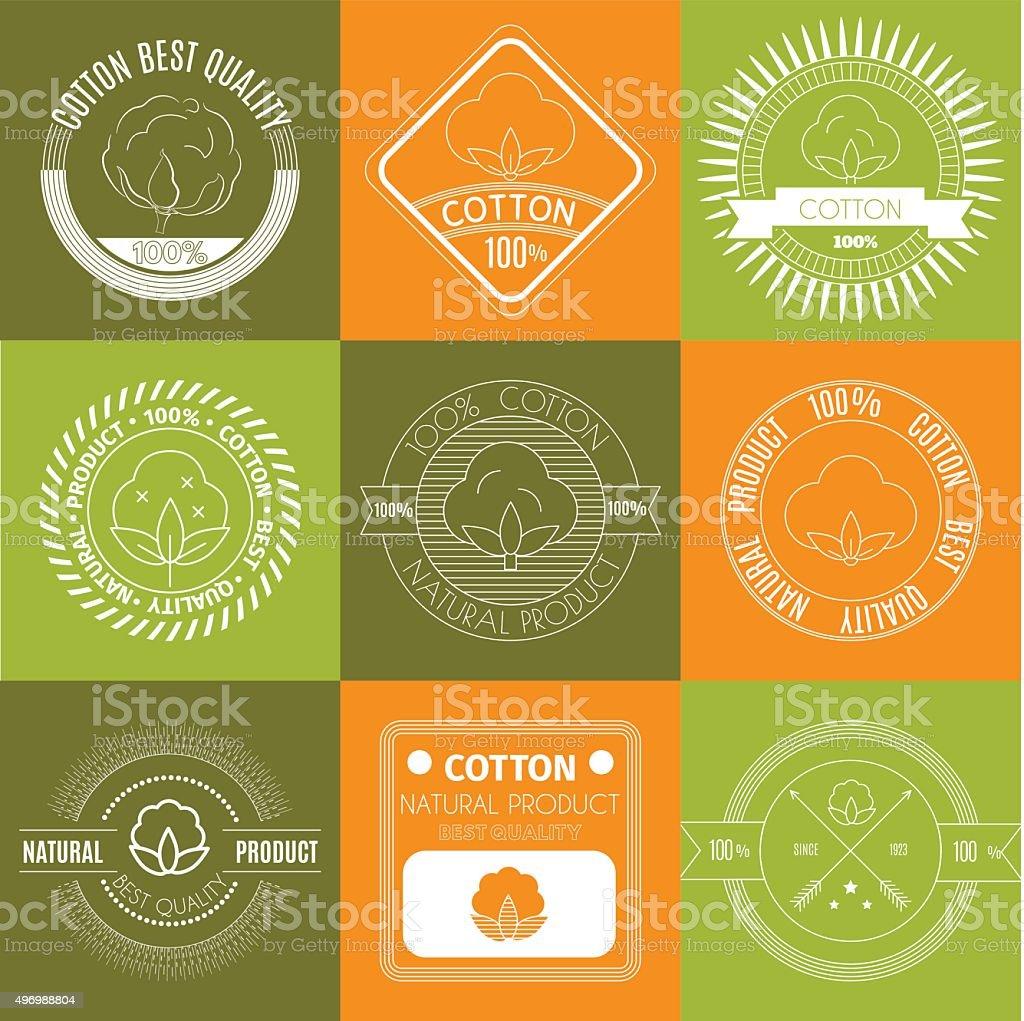 Cotton icons or  labels set. vector art illustration