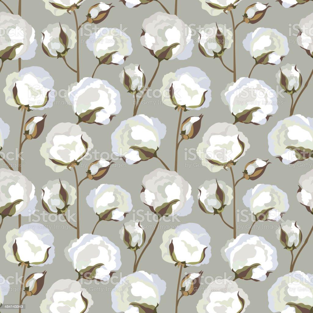Cotton plant floral seamless pattern vector art illustration