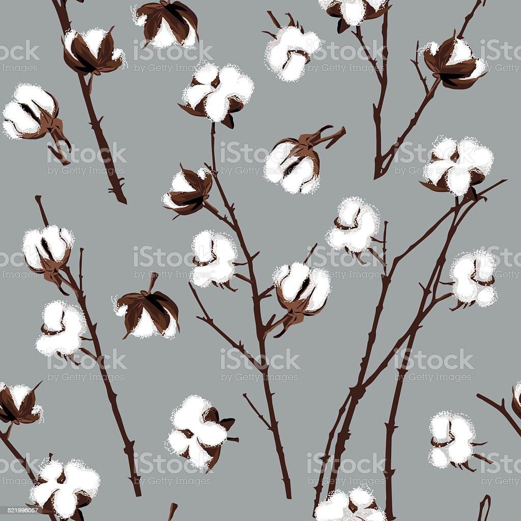 Cotton plants grey seamless vector pattern vector art illustration