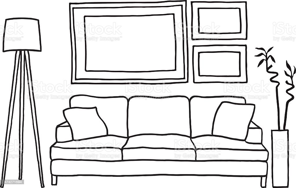 couch and blank picture frames, vector mockup vector art illustration