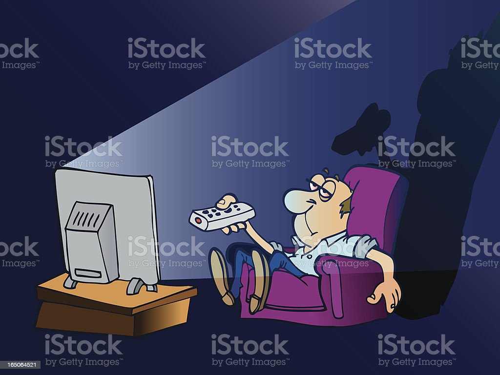 Couch potato, a lazy man watching TV on his couch vector art illustration
