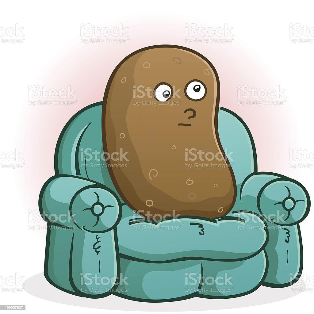 Couch Potato Cartoon Character vector art illustration