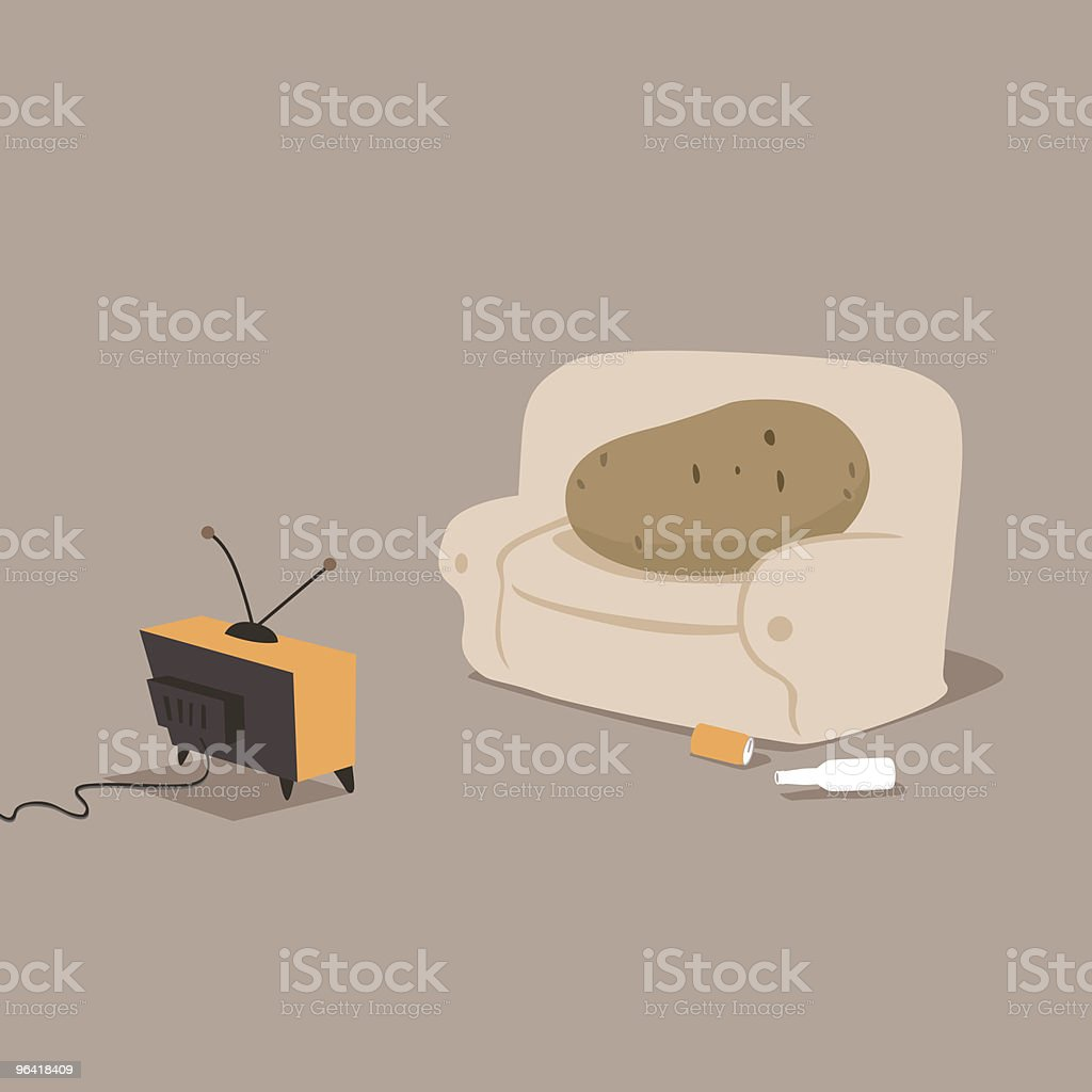Couch potato vector art illustration