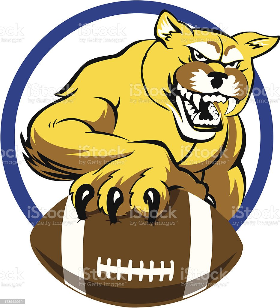 Cougar with Football royalty-free stock vector art