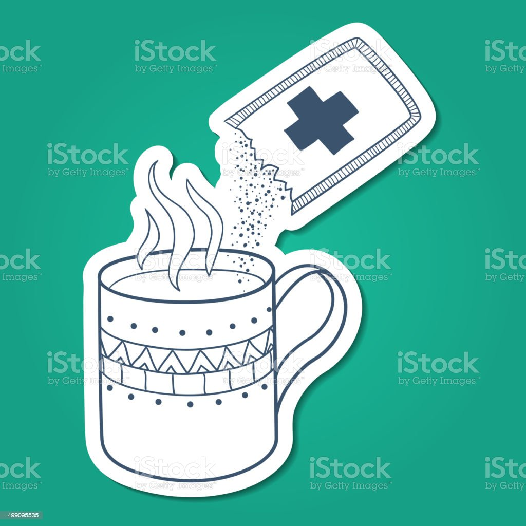 Cough and cold instant hot drink. royalty-free stock vector art