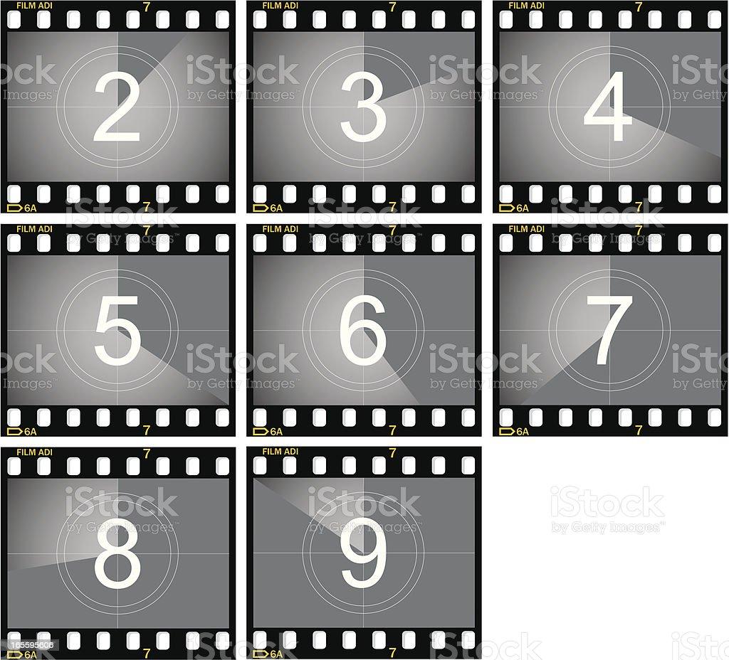 Countdown Film Frames vector art illustration