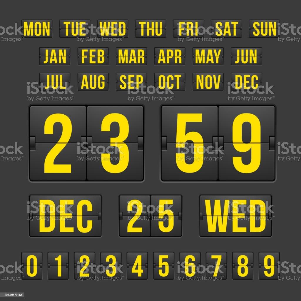 Countdown Timer and Date, Calendar Scoreboard vector art illustration