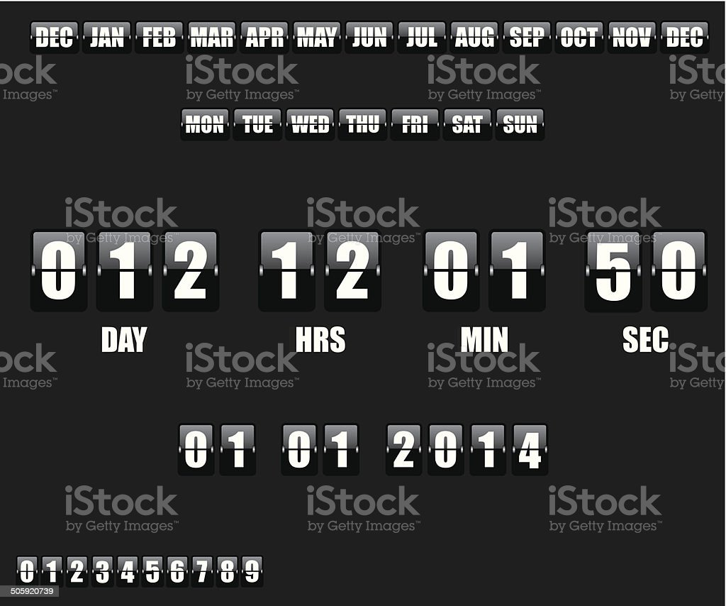 Countdown Timer and Date on black background vector art illustration