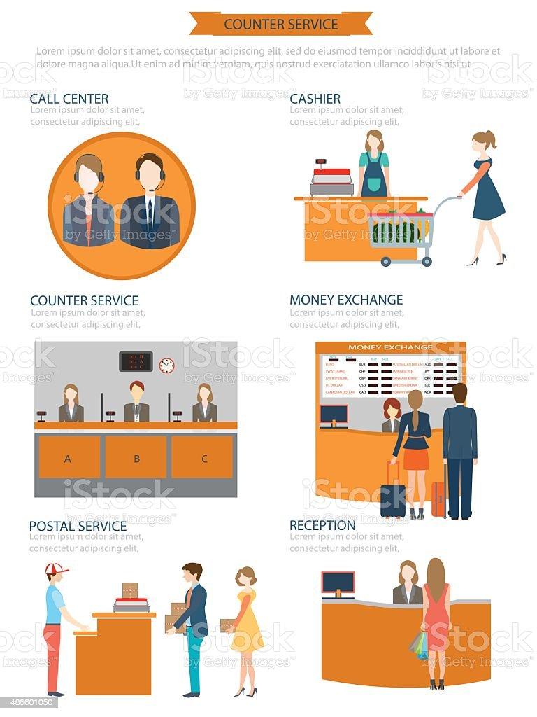 Counter service clerks at work. vector art illustration