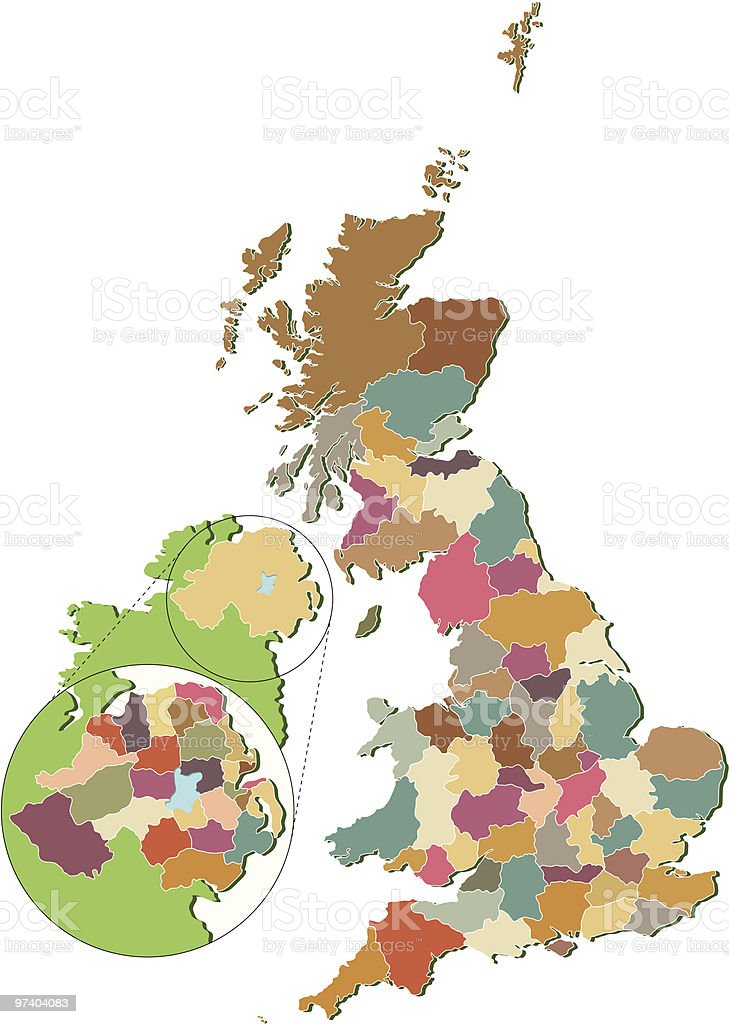 UK Counties map vector art illustration
