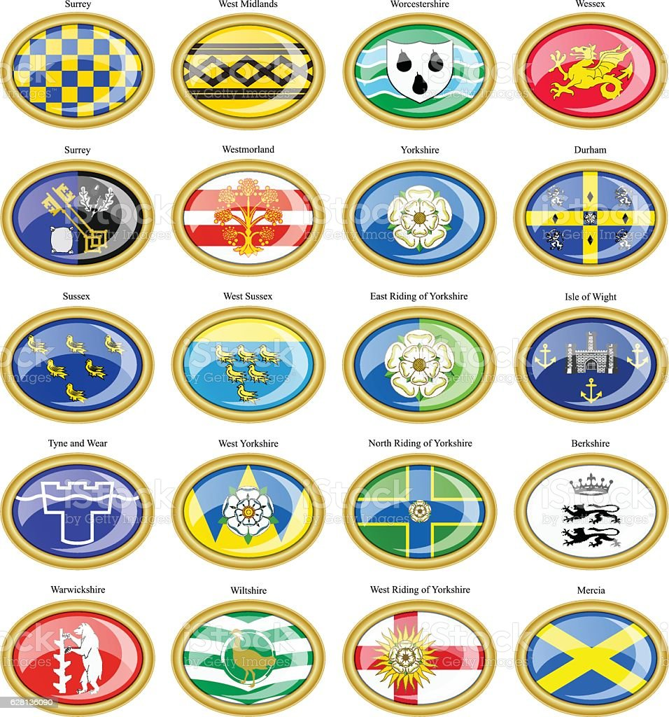 Counties of England flags vector art illustration