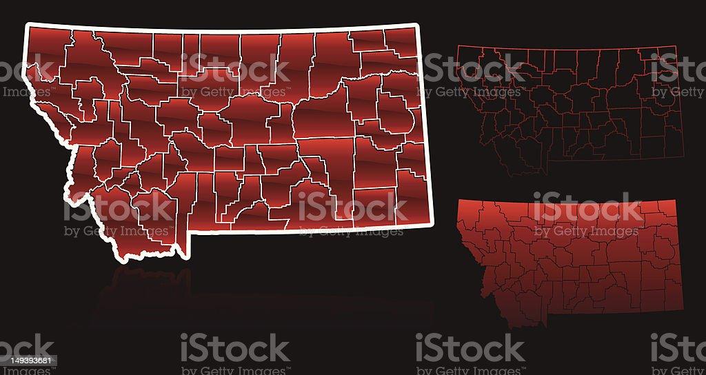 Counties of Montana royalty-free stock vector art