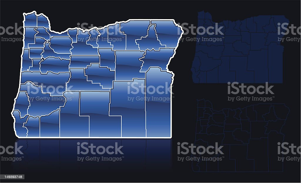 Counties of Oregon vector art illustration