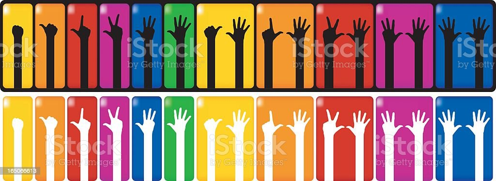 counting hands sets vector art illustration