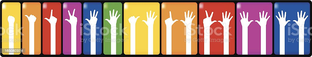 counting hands vector art illustration