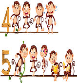 Counting number four and five with monkeys