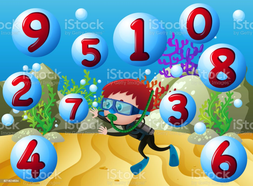 Counting numbers with boy diving underwater vector art illustration