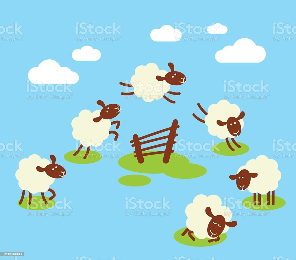 Counting sheep to sleep concept vector art illustration