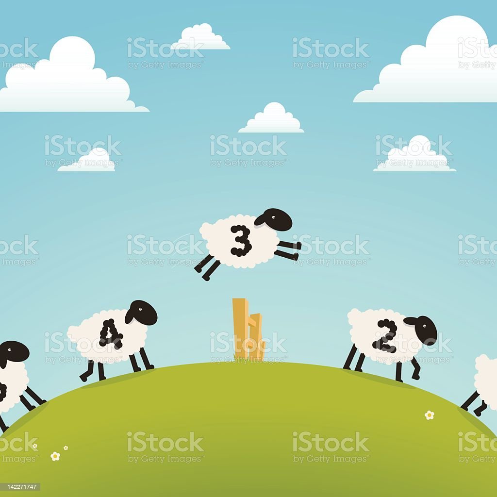 Counting sheep (sleep concept) vector art illustration