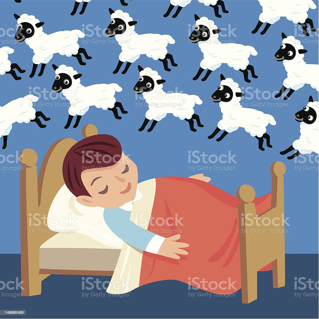 Counting Sheep vector art illustration