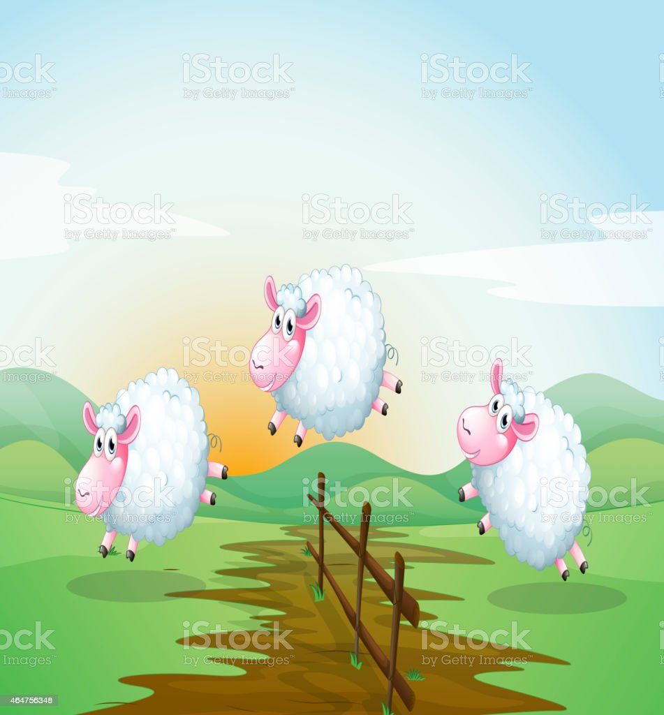 Counting sheeps vector art illustration