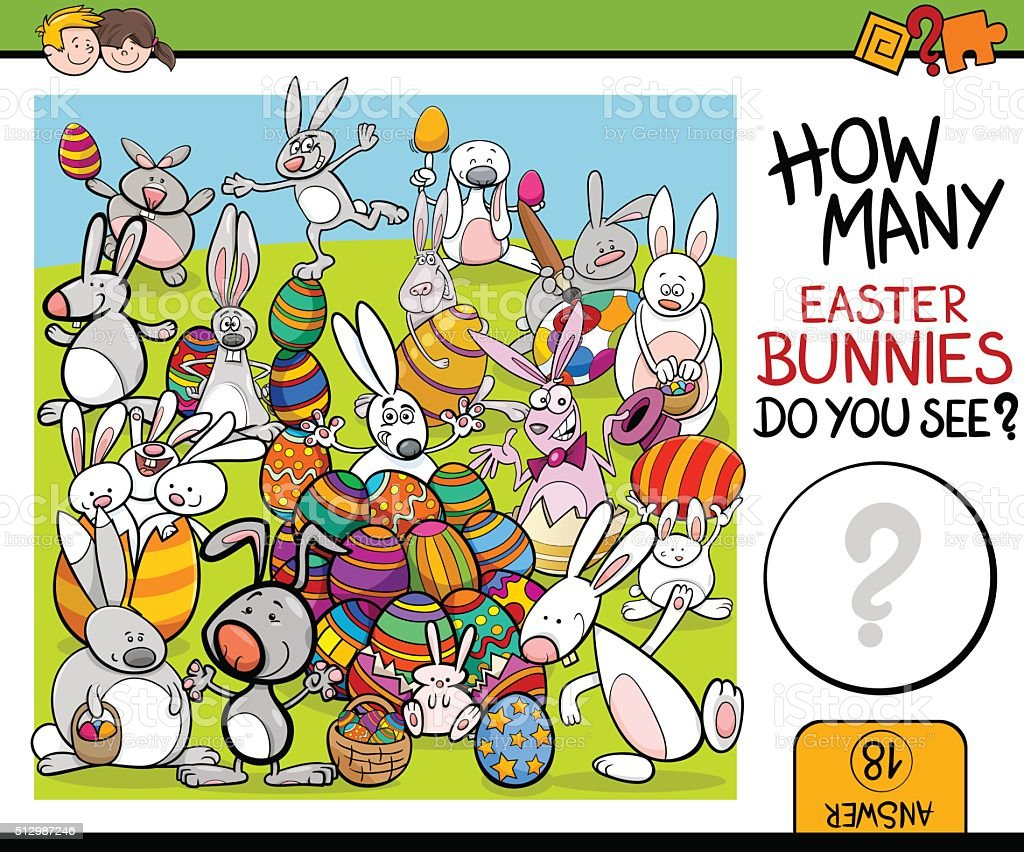 counting task with easter bunny vector art illustration