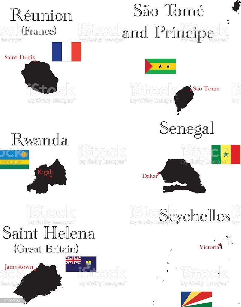 Countries of Africa. Reunion, Rwanda, Saint Helena, SaoTomeandPrincipe, Senegal, Seychelles vector art illustration