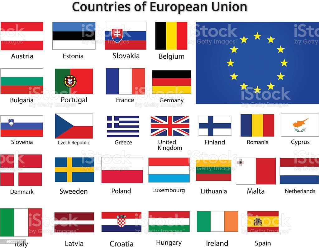 countries of european union flags vector art illustration