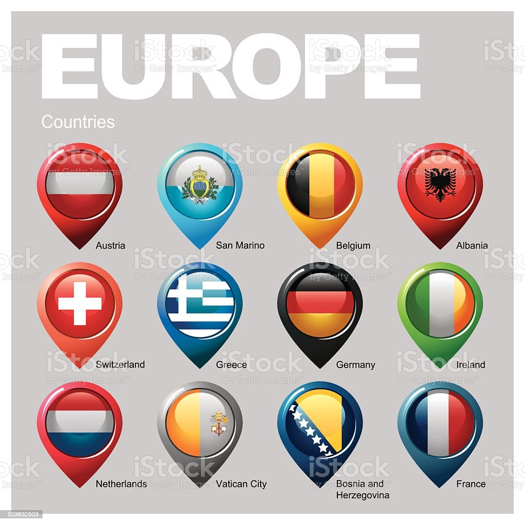 EUROPE Countries - Part Eight vector art illustration