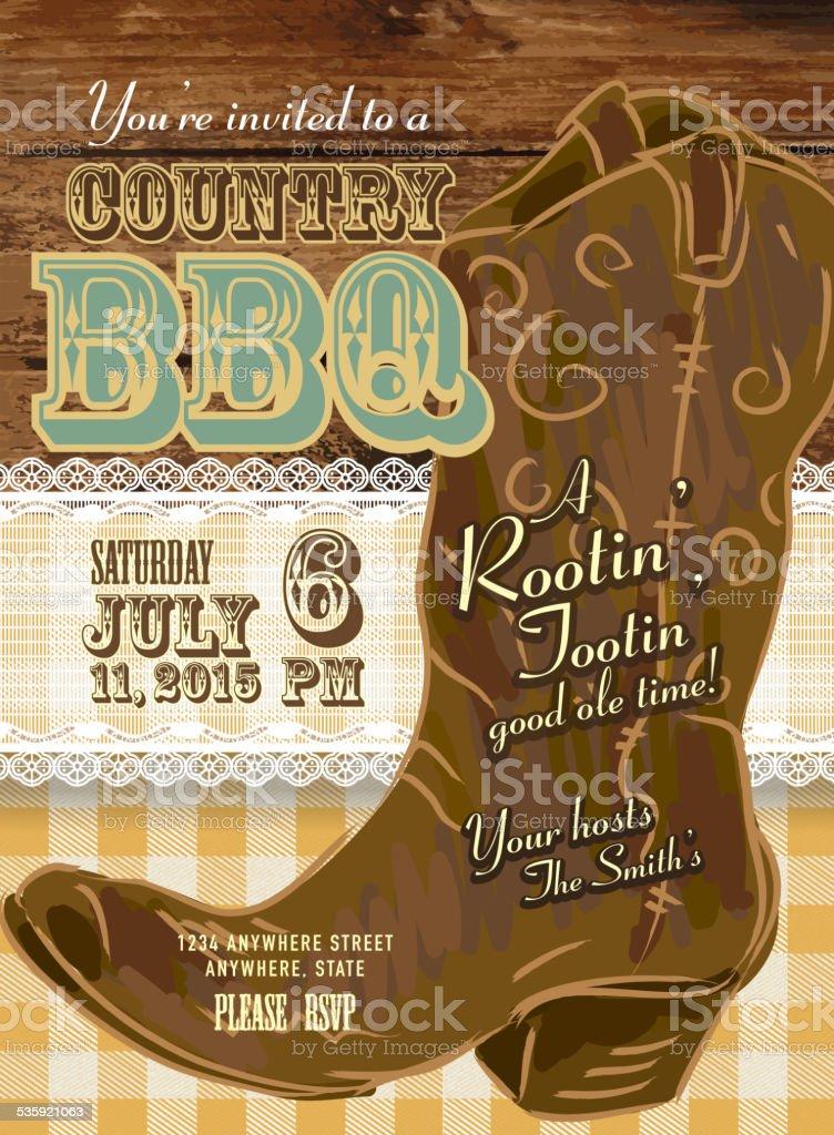 country und western grill mit cowboystiefel einladung, Einladungen