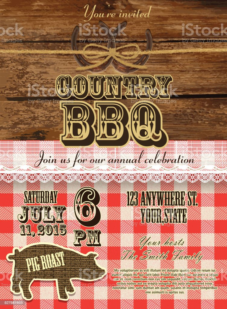 Country and western BBQ with pig invitation design template vector art illustration