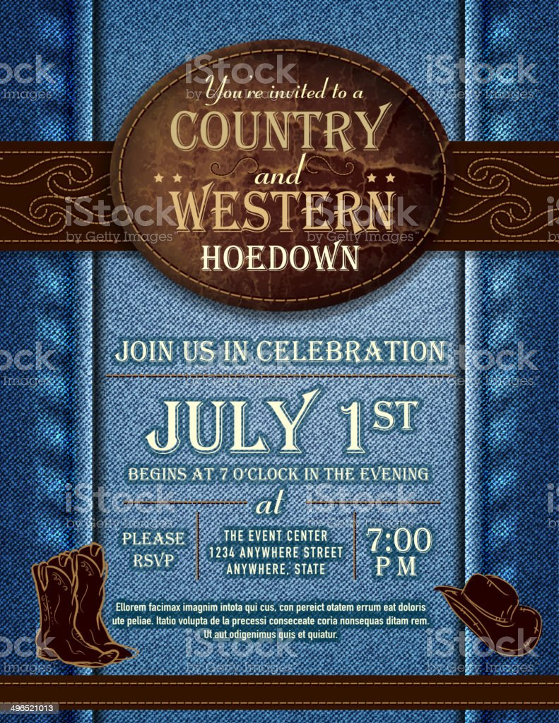 Country and western hoedown denim and leather invitation design template vector art illustration