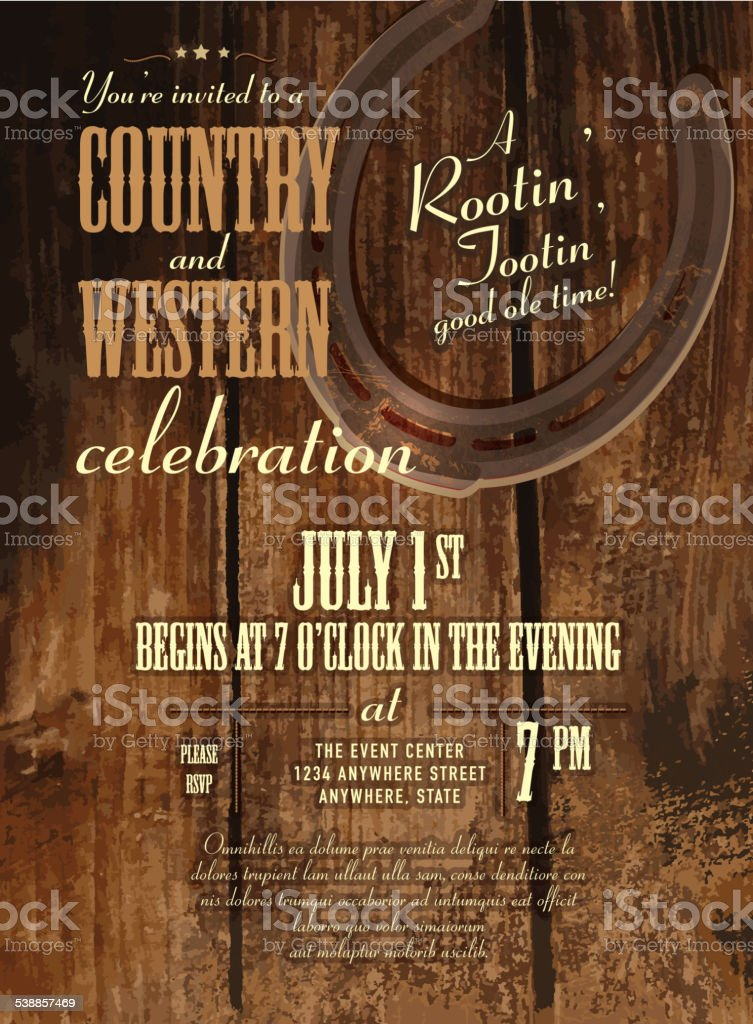 Country and western horseshoe and rustic wooden design invitation vector art illustration