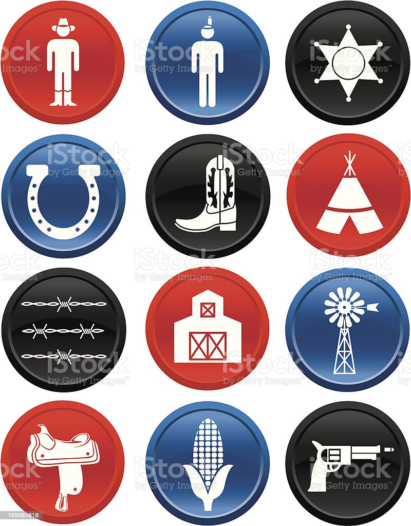 country and western icons multi color: series one vector art illustration